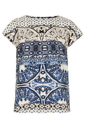 Tall Aztec Folk Shell Top - neckline: round neck; style: t-shirt; secondary colour: ivory/cream; predominant colour: navy; occasions: casual, evening, work, holiday, creative work; length: standard; fibres: polyester/polyamide - 100%; fit: straight cut; sleeve length: short sleeve; sleeve style: standard; texture group: crepes; pattern type: fabric; pattern: patterned/print; season: s/s 2014; pattern size: big & busy (top)