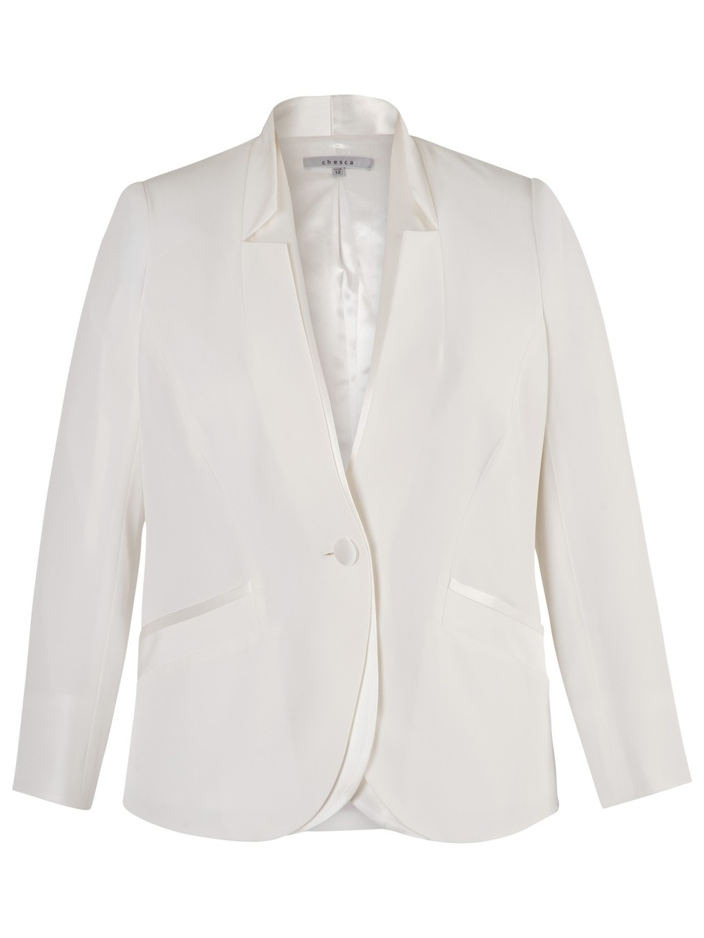 Notch Neck Satin Back Jacket, Ivory - pattern: plain; style: single breasted blazer; collar: round collar/collarless; predominant colour: ivory/cream; length: standard; fit: tailored/fitted; fibres: polyester/polyamide - mix; occasions: occasion, creative work; sleeve length: 3/4 length; sleeve style: standard; collar break: medium; pattern type: fabric; texture group: woven light midweight; season: s/s 2014