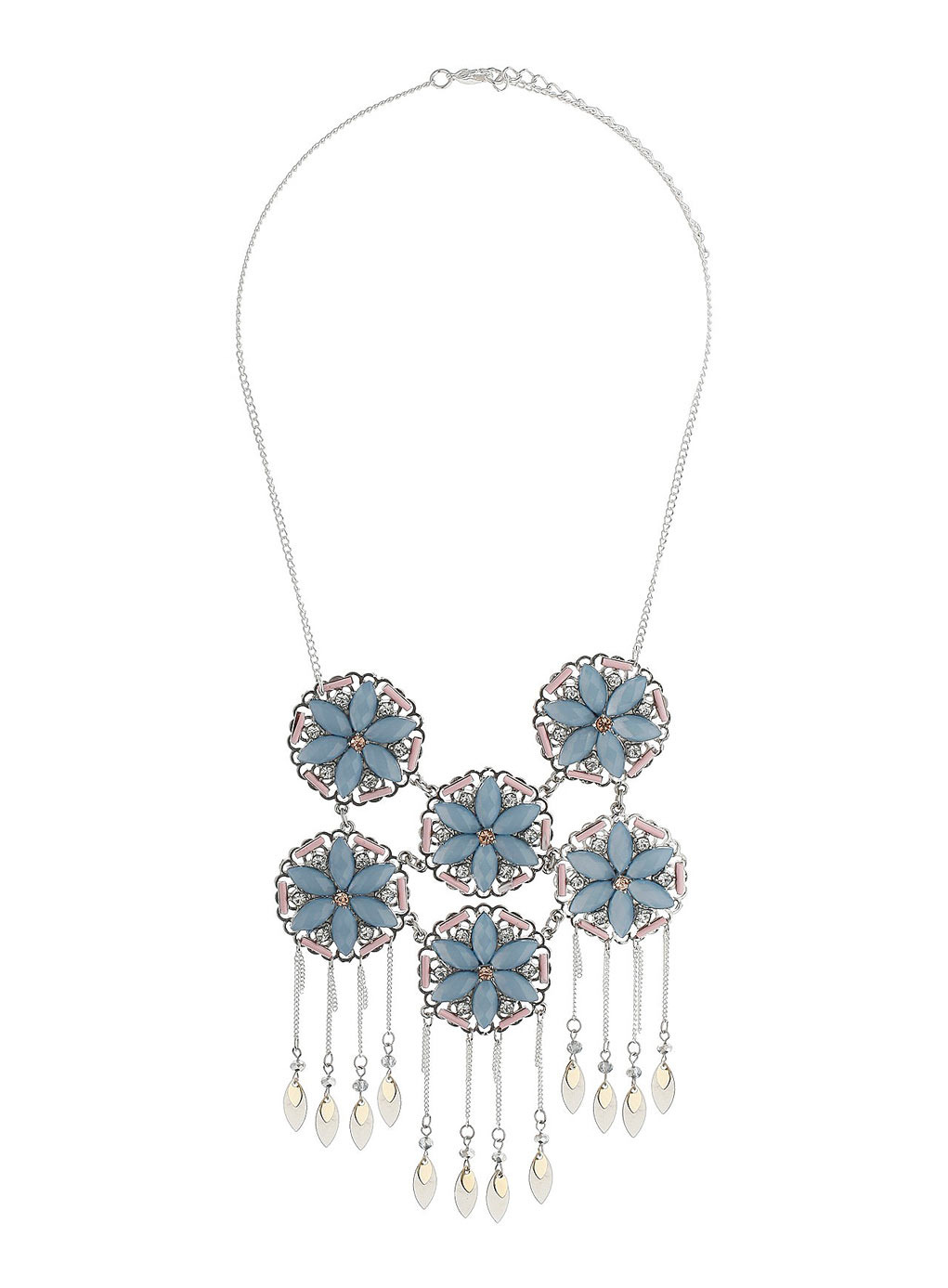 Pastel Flower Tassel Necklace - predominant colour: pale blue; secondary colour: silver; occasions: evening, occasion; length: mid; size: large/oversized; material: chain/metal; finish: metallic; embellishment: jewels/stone; style: bib/statement; season: s/s 2014