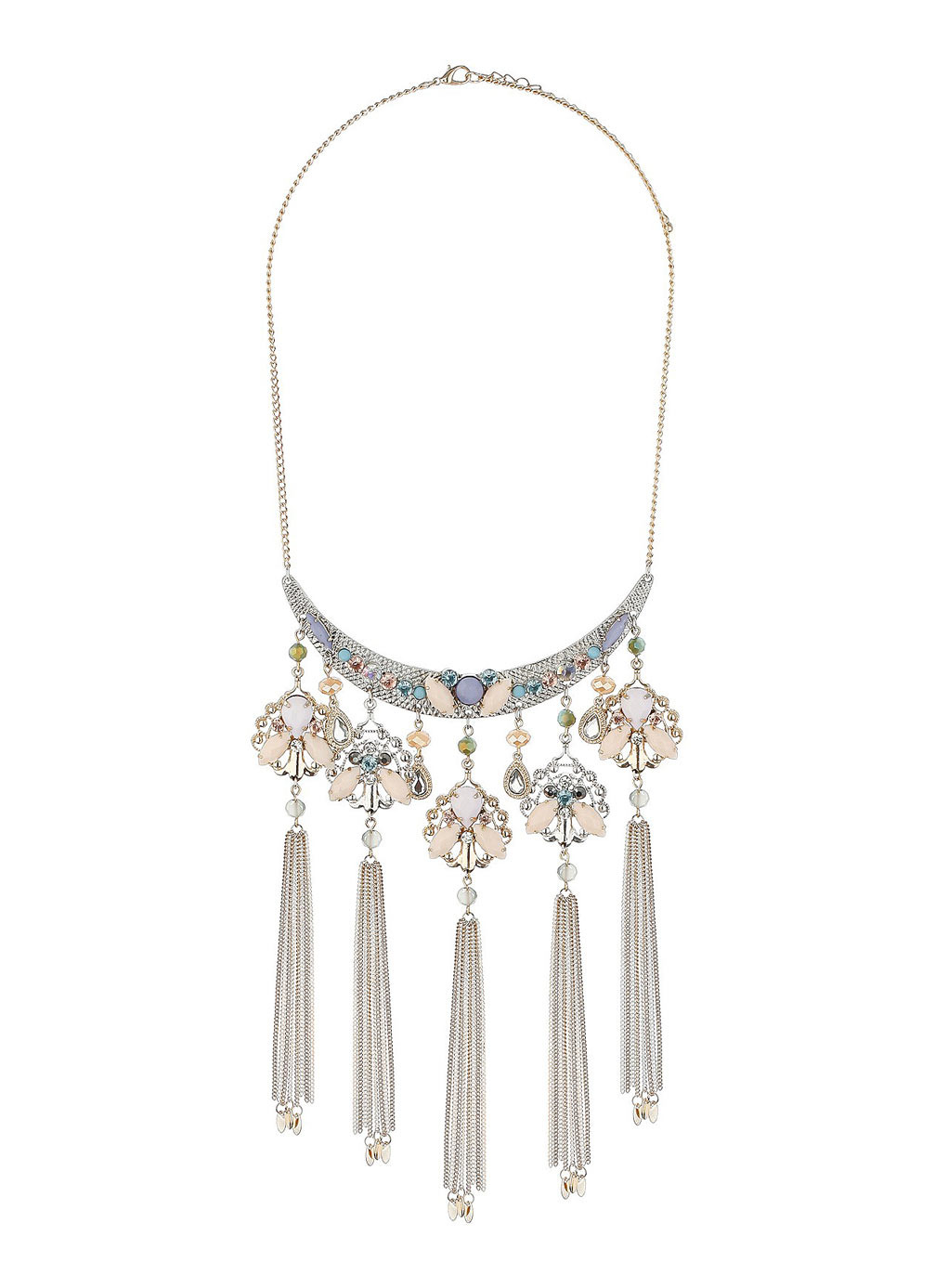 Pastel Ornate Tassel Necklace - predominant colour: silver; occasions: evening, occasion; length: long; size: large/oversized; material: chain/metal; finish: metallic; embellishment: tassels; style: bib/statement; season: s/s 2014