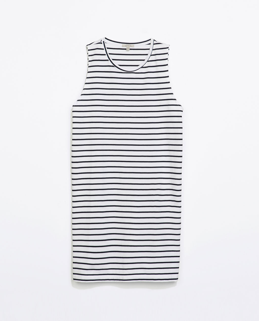 Striped Cotton Dress - length: mid thigh; neckline: round neck; fit: loose; pattern: horizontal stripes; sleeve style: sleeveless; style: sundress; predominant colour: white; secondary colour: black; occasions: casual, holiday; fibres: cotton - 100%; back detail: longer hem at back than at front; sleeve length: sleeveless; pattern type: fabric; pattern size: standard; texture group: jersey - stretchy/drapey; season: s/s 2014; trends: monochrome