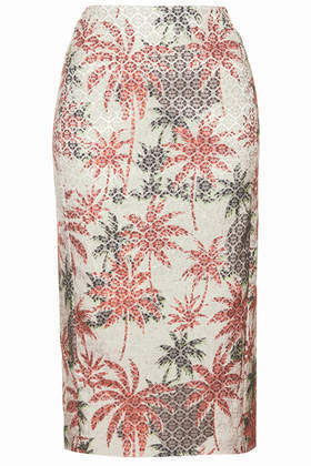Palm Jacquard Pencil Skirt - length: below the knee; style: pencil; fit: tailored/fitted; waist: high rise; occasions: evening, occasion, creative work; fibres: cotton - stretch; predominant colour: multicoloured; pattern type: fabric; pattern: patterned/print; texture group: brocade/jacquard; season: s/s 2014; pattern size: standard (bottom); multicoloured: multicoloured