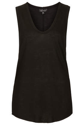 V Tank Top - pattern: plain; sleeve style: sleeveless; length: below the bottom; predominant colour: black; occasions: casual, holiday, creative work; style: top; neckline: scoop; fit: body skimming; sleeve length: sleeveless; pattern type: fabric; texture group: jersey - stretchy/drapey; fibres: viscose/rayon - mix; season: s/s 2014