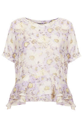 Floral Double Hem Tee - neckline: slash/boat neckline; waist detail: peplum waist detail; predominant colour: lilac; occasions: casual, evening, work, occasion, holiday, creative work; length: standard; style: top; fibres: polyester/polyamide - 100%; fit: body skimming; sleeve length: short sleeve; sleeve style: standard; texture group: sheer fabrics/chiffon/organza etc.; hip detail: ruffles/tiers/tie detail at hip; pattern type: fabric; pattern size: standard; pattern: florals; season: s/s 2014