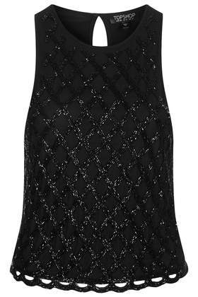 Caged Sequin Shell Top - neckline: round neck; sleeve style: standard vest straps/shoulder straps; pattern: plain; predominant colour: black; occasions: evening, work, creative work; length: standard; style: top; fibres: viscose/rayon - 100%; fit: body skimming; back detail: keyhole/peephole detail at back; sleeve length: sleeveless; pattern type: fabric; texture group: other - light to midweight; embellishment: sequins; trends: summer sparkle; season: s/s 2014