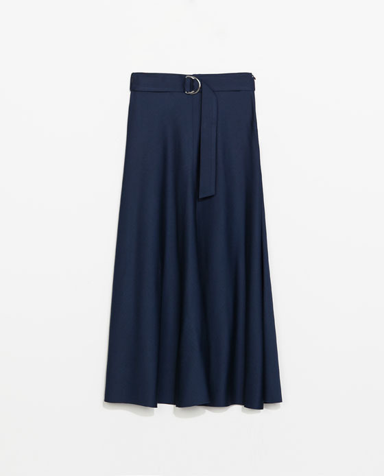 High Waist Midi Skirt - length: calf length; pattern: plain; fit: loose/voluminous; waist: high rise; waist detail: belted waist/tie at waist/drawstring; predominant colour: navy; occasions: casual, creative work; style: a-line; fibres: viscose/rayon - 100%; hip detail: soft pleats at hip/draping at hip/flared at hip; pattern type: fabric; texture group: woven light midweight; season: s/s 2014