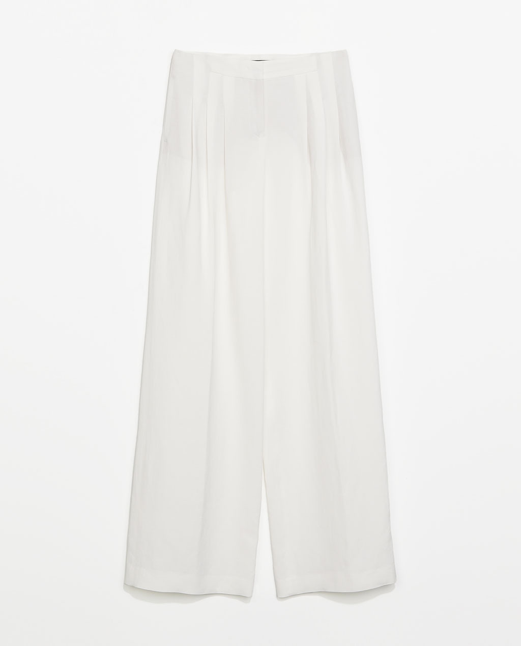 Pleat Front Linen Trousers - length: standard; pattern: plain; waist: high rise; predominant colour: white; occasions: casual, evening, holiday, creative work; texture group: linen; fit: wide leg; pattern type: fabric; style: standard; fibres: viscose/rayon - mix; season: s/s 2014