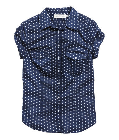 Cotton Blouse - neckline: shirt collar/peter pan/zip with opening; style: shirt; bust detail: pocket detail at bust; pattern: polka dot; secondary colour: white; predominant colour: navy; occasions: casual, creative work; length: standard; fibres: cotton - 100%; fit: tailored/fitted; sleeve length: short sleeve; sleeve style: standard; texture group: cotton feel fabrics; pattern type: fabric; pattern size: standard; season: s/s 2014