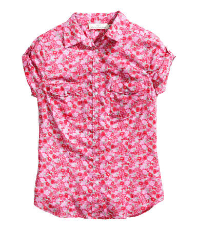 Cotton Blouse - neckline: shirt collar/peter pan/zip with opening; style: shirt; bust detail: pocket detail at bust; predominant colour: hot pink; secondary colour: true red; occasions: casual, creative work; length: standard; fibres: cotton - 100%; fit: tailored/fitted; sleeve length: short sleeve; sleeve style: standard; texture group: cotton feel fabrics; pattern type: fabric; pattern: florals; trends: furious florals; season: s/s 2014; pattern size: big & busy (top)