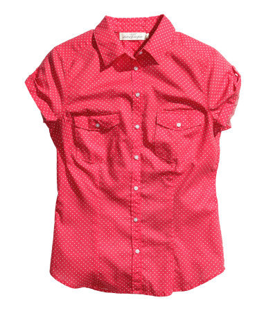 Cotton Blouse - neckline: shirt collar/peter pan/zip with opening; style: shirt; pattern: polka dot; secondary colour: white; predominant colour: true red; occasions: casual, holiday, creative work; length: standard; fibres: cotton - 100%; fit: tailored/fitted; sleeve length: short sleeve; sleeve style: standard; texture group: cotton feel fabrics; pattern type: fabric; pattern size: standard; season: s/s 2014