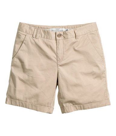 Chino Shorts - pattern: plain; waist: mid/regular rise; predominant colour: stone; occasions: casual, holiday; fibres: cotton - stretch; texture group: cotton feel fabrics; pattern type: fabric; season: s/s 2014; style: shorts; length: short shorts; fit: slim leg