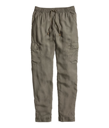 Lyocell Cargo Pants - length: standard; pattern: plain; waist: mid/regular rise; style: cargo; predominant colour: mid grey; occasions: casual; texture group: cotton feel fabrics; fit: slim leg; season: s/s 2014