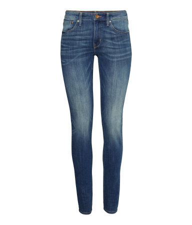 Skinny Regular Jeans - style: skinny leg; length: standard; pattern: plain; pocket detail: traditional 5 pocket; waist: mid/regular rise; predominant colour: denim; occasions: casual, creative work; fibres: cotton - stretch; jeans detail: whiskering, shading down centre of thigh, washed/faded; texture group: denim; pattern type: fabric; season: s/s 2014