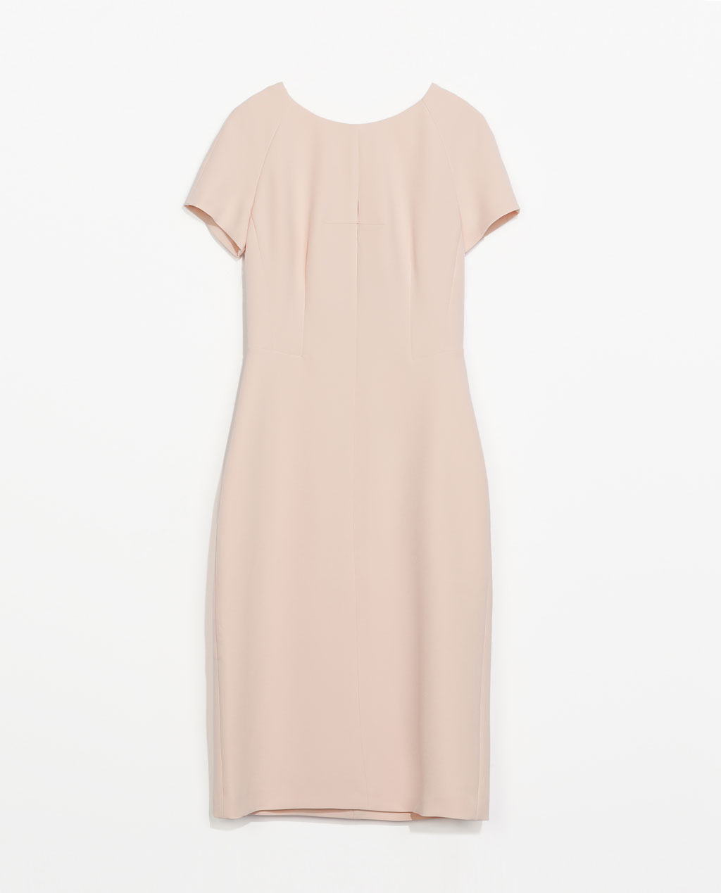 Shift Dress - style: shift; neckline: round neck; sleeve style: raglan; fit: tailored/fitted; pattern: plain; back detail: low cut/open back; predominant colour: nude; occasions: evening, creative work; length: on the knee; fibres: polyester/polyamide - stretch; sleeve length: short sleeve; pattern type: fabric; texture group: other - light to midweight; season: s/s 2014