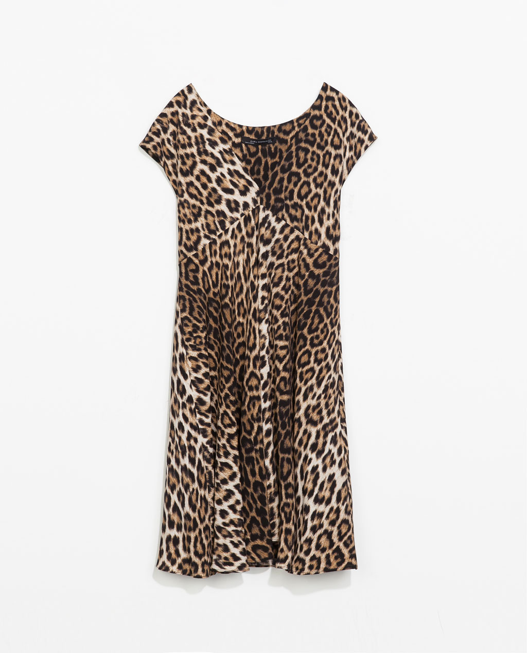 Animal Print Dress - style: shift; neckline: low v-neck; sleeve style: capped; fit: loose; secondary colour: chocolate brown; predominant colour: tan; occasions: casual, evening, holiday, creative work; length: just above the knee; fibres: viscose/rayon - 100%; sleeve length: short sleeve; pattern type: fabric; pattern size: standard; pattern: animal print; texture group: jersey - stretchy/drapey; season: s/s 2014