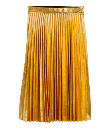 Pleated Skirt - fit: body skimming; style: pleated; waist: mid/regular rise; secondary colour: yellow; predominant colour: gold; occasions: evening, occasion, creative work; length: on the knee; fibres: polyester/polyamide - 100%; hip detail: structured pleats at hip; pattern type: fabric; pattern: patterned/print; texture group: woven light midweight; trends: hot brights, shimmery metallics; season: s/s 2014; pattern size: light/subtle (bottom)