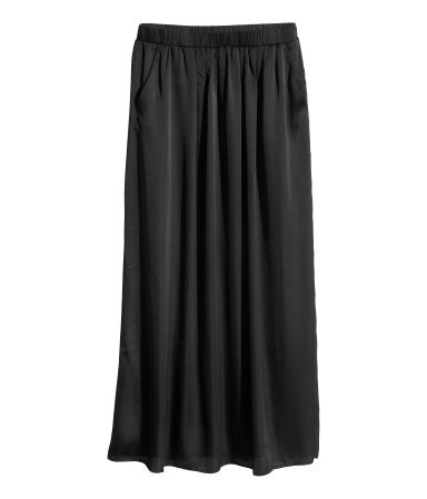 Satin Maxi Skirt - pattern: plain; length: ankle length; fit: body skimming; waist: low rise; predominant colour: black; occasions: casual, evening, holiday, creative work; style: maxi skirt; fibres: polyester/polyamide - 100%; hip detail: soft pleats at hip/draping at hip/flared at hip; texture group: structured shiny - satin/tafetta/silk etc.; pattern type: fabric; season: s/s 2014