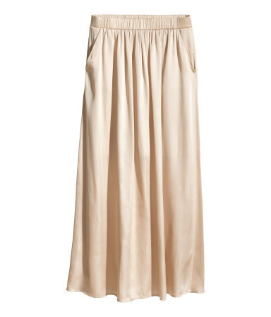 Satin Maxi Skirt - pattern: plain; fit: loose/voluminous; waist detail: elasticated waist; waist: mid/regular rise; predominant colour: nude; occasions: casual, evening, holiday, creative work; length: floor length; style: maxi skirt; fibres: polyester/polyamide - 100%; hip detail: ruching/gathering at hip; texture group: silky - light; pattern type: fabric; season: s/s 2014