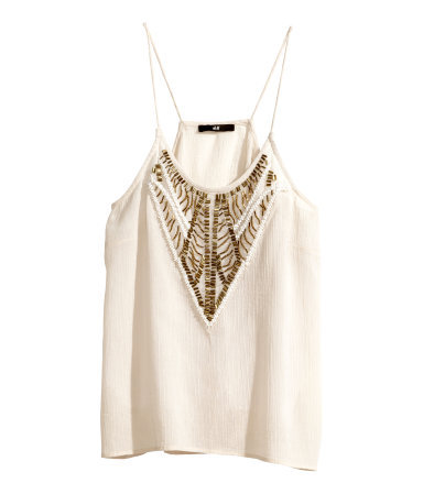 Top With Beaded Embroidery - sleeve style: spaghetti straps; pattern: plain; bust detail: added detail/embellishment at bust; predominant colour: white; occasions: casual, evening, holiday; length: standard; style: top; neckline: scoop; fibres: cotton - 100%; fit: loose; sleeve length: sleeveless; texture group: crepes; pattern type: fabric; embellishment: beading; trends: shimmery metallics; season: s/s 2014