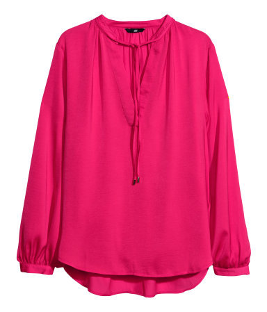 Satin Blouse - pattern: plain; sleeve style: balloon; predominant colour: hot pink; occasions: casual, evening, work, creative work; length: standard; style: top; neckline: collarstand & mandarin with v-neck; fibres: polyester/polyamide - 100%; fit: loose; back detail: longer hem at back than at front; sleeve length: long sleeve; texture group: structured shiny - satin/tafetta/silk etc.; pattern type: fabric; trends: hot brights; season: s/s 2014