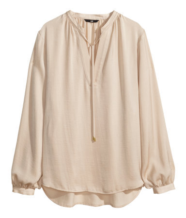 Satin Blouse - pattern: plain; sleeve style: balloon; predominant colour: stone; occasions: casual, evening, work, occasion, creative work; length: standard; style: top; neckline: collarstand & mandarin with v-neck; fibres: polyester/polyamide - 100%; fit: loose; back detail: longer hem at back than at front; sleeve length: long sleeve; texture group: structured shiny - satin/tafetta/silk etc.; pattern type: fabric; season: s/s 2014