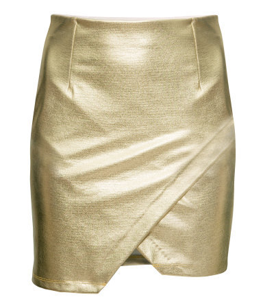 Coated Wraparound Skirt - length: mid thigh; pattern: plain; fit: tight; waist: high rise; predominant colour: gold; occasions: evening, creative work; fibres: polyester/polyamide - stretch; style: tube; pattern type: fabric; texture group: woven light midweight; trends: shimmery metallics; season: s/s 2014