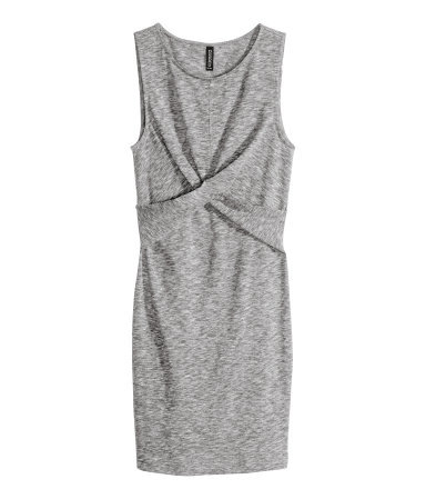 Draped Dress - length: mini; fit: tight; pattern: plain; sleeve style: sleeveless; style: bodycon; predominant colour: mid grey; occasions: casual, evening, creative work; fibres: cotton - mix; neckline: crew; sleeve length: sleeveless; texture group: jersey - clingy; bust detail: tiers/frills/bulky drapes/pleats; pattern type: fabric; pattern size: light/subtle; season: s/s 2014