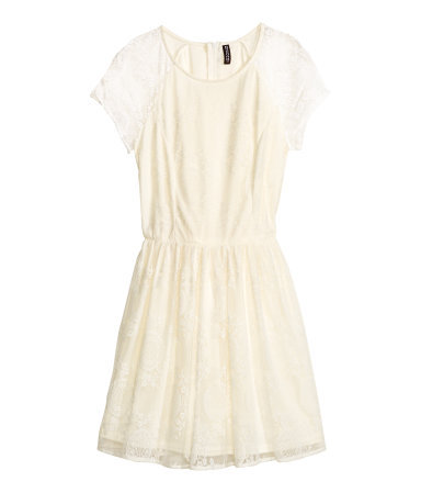 Lace Dress - style: tea dress; length: mid thigh; neckline: round neck; sleeve style: capped; fit: fitted at waist; waist detail: elasticated waist; predominant colour: ivory/cream; occasions: casual, evening, occasion; fibres: polyester/polyamide - 100%; sleeve length: short sleeve; texture group: lace; pattern type: fabric; pattern: patterned/print; trends: lace; season: s/s 2014