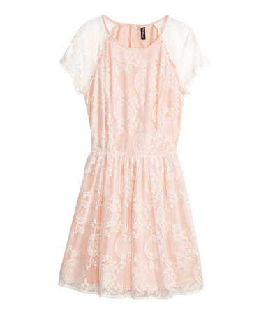 Lace Dress - length: mid thigh; neckline: round neck; sleeve style: capped; secondary colour: white; predominant colour: nude; occasions: casual, evening, occasion; fit: fitted at waist & bust; style: fit & flare; fibres: polyester/polyamide - 100%; sleeve length: sleeveless; texture group: lace; pattern type: fabric; pattern: patterned/print; trends: sorbet shades, lace; season: s/s 2014