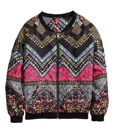 Patterned Bomber Jacket - collar: round collar/collarless; style: bomber; secondary colour: magenta; predominant colour: black; occasions: casual, creative work; length: standard; fit: straight cut (boxy); fibres: polyester/polyamide - 100%; sleeve length: long sleeve; sleeve style: standard; collar break: high; pattern type: fabric; pattern size: standard; pattern: patterned/print; texture group: other - light to midweight; trends: art-party prints; season: s/s 2014
