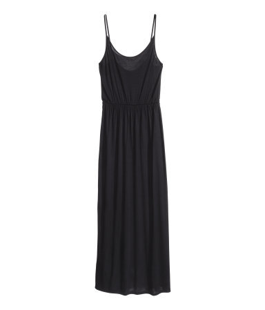 Maxi Dress - sleeve style: spaghetti straps; fit: fitted at waist; pattern: plain; style: maxi dress; waist detail: elasticated waist; predominant colour: black; occasions: casual, holiday; length: floor length; neckline: scoop; fibres: viscose/rayon - 100%; sleeve length: sleeveless; pattern type: fabric; texture group: jersey - stretchy/drapey; season: s/s 2014