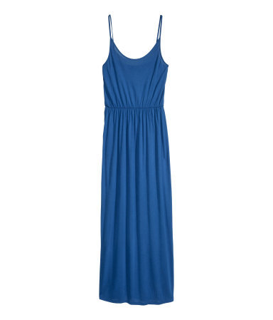 Maxi Dress - sleeve style: spaghetti straps; fit: fitted at waist; pattern: plain; style: maxi dress; waist detail: elasticated waist; predominant colour: royal blue; occasions: casual, evening, holiday; length: floor length; neckline: scoop; fibres: viscose/rayon - 100%; hip detail: soft pleats at hip/draping at hip/flared at hip; sleeve length: sleeveless; pattern type: fabric; texture group: jersey - stretchy/drapey; season: s/s 2014