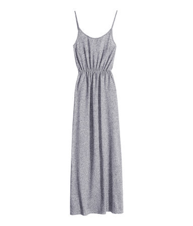 Maxi Dress - sleeve style: spaghetti straps; fit: fitted at waist; pattern: plain; style: maxi dress; waist detail: elasticated waist; predominant colour: mid grey; occasions: casual, holiday; length: floor length; neckline: scoop; fibres: polyester/polyamide - 100%; hip detail: subtle/flattering hip detail; sleeve length: sleeveless; pattern type: fabric; texture group: jersey - stretchy/drapey; season: s/s 2014