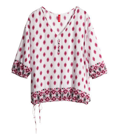 Patterned Blouse - neckline: low v-neck; style: blouse; hip detail: draws attention to hips; secondary colour: white; predominant colour: true red; occasions: casual, holiday, creative work; length: standard; fibres: viscose/rayon - 100%; fit: loose; sleeve length: 3/4 length; sleeve style: standard; pattern type: fabric; pattern: patterned/print; texture group: woven light midweight; season: s/s 2014; pattern size: big & busy (top)