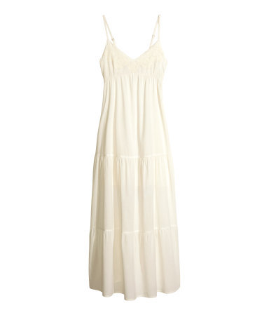 Cotton Maxi Dress - neckline: low v-neck; sleeve style: spaghetti straps; fit: empire; pattern: plain; style: maxi dress; predominant colour: ivory/cream; occasions: casual, holiday; length: floor length; fibres: cotton - 100%; sleeve length: sleeveless; texture group: cotton feel fabrics; pattern type: fabric; embellishment: embroidered; season: s/s 2014; wardrobe: highlight; embellishment location: bust