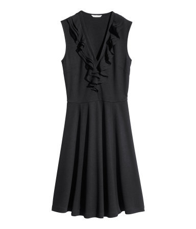 Frilled Dress - style: tea dress; neckline: low v-neck; pattern: plain; sleeve style: sleeveless; predominant colour: black; occasions: evening, occasion, creative work; length: just above the knee; fit: fitted at waist & bust; fibres: viscose/rayon - stretch; sleeve length: sleeveless; bust detail: tiers/frills/bulky drapes/pleats; pattern type: fabric; texture group: jersey - stretchy/drapey; season: s/s 2014