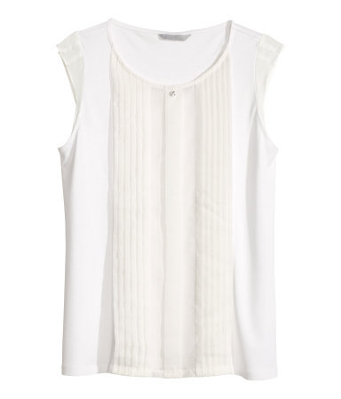 Top With Pintucks - neckline: round neck; pattern: plain; sleeve style: sleeveless; bust detail: ruching/gathering/draping/layers/pintuck pleats at bust; predominant colour: ivory/cream; occasions: casual, evening, work, creative work; length: standard; style: top; fibres: viscose/rayon - 100%; fit: body skimming; sleeve length: sleeveless; pattern type: fabric; texture group: jersey - stretchy/drapey; season: s/s 2014