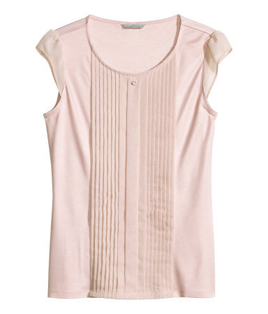 Top With Pintucks - neckline: round neck; sleeve style: capped; pattern: plain; bust detail: subtle bust detail; predominant colour: blush; occasions: casual, creative work; length: standard; style: top; fibres: viscose/rayon - 100%; fit: body skimming; sleeve length: short sleeve; pattern type: fabric; texture group: jersey - stretchy/drapey; season: s/s 2014; wardrobe: basic