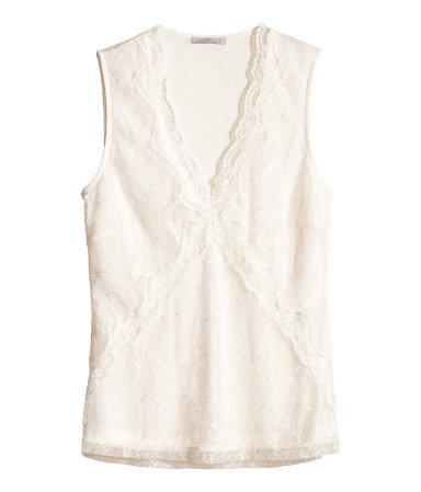 Lace Top - neckline: low v-neck; sleeve style: sleeveless; predominant colour: white; occasions: casual, evening, work, creative work; length: standard; style: top; fibres: polyester/polyamide - 100%; fit: body skimming; sleeve length: sleeveless; texture group: lace; pattern type: fabric; pattern: patterned/print; embellishment: lace; trends: lace; season: s/s 2014