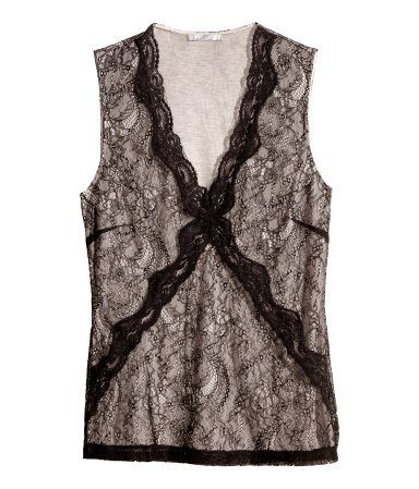 Lace Top - neckline: low v-neck; sleeve style: sleeveless; predominant colour: black; occasions: evening, work, creative work; length: standard; style: top; fibres: polyester/polyamide - 100%; fit: body skimming; sleeve length: sleeveless; texture group: lace; pattern type: fabric; pattern: patterned/print; trends: lace; season: s/s 2014