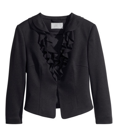Frilled Jersey Jacket - pattern: plain; style: single breasted blazer; bust detail: added detail/embellishment at bust; collar: round collar/collarless; predominant colour: black; occasions: evening, work, occasion, creative work; length: standard; fit: tailored/fitted; fibres: polyester/polyamide - stretch; sleeve length: 3/4 length; sleeve style: standard; collar break: medium; pattern type: fabric; texture group: woven light midweight; season: s/s 2014