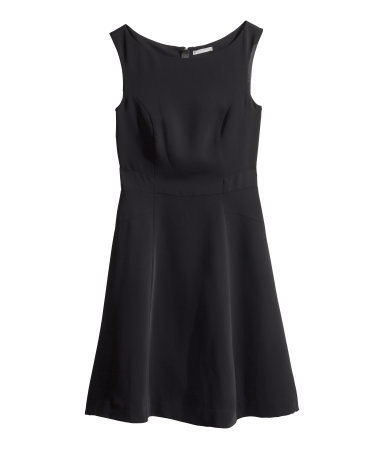 Sleeveless Dress - neckline: round neck; pattern: plain; sleeve style: sleeveless; predominant colour: black; occasions: evening, work, occasion, creative work; length: just above the knee; fit: fitted at waist & bust; style: fit & flare; fibres: polyester/polyamide - 100%; sleeve length: sleeveless; pattern type: fabric; texture group: woven light midweight; season: s/s 2014