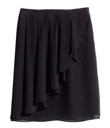Frilled Skirt - length: mid thigh; pattern: plain; style: wrap/faux wrap; waist: mid/regular rise; predominant colour: black; occasions: evening, holiday, creative work; fibres: polyester/polyamide - 100%; hip detail: subtle/flattering hip detail; texture group: sheer fabrics/chiffon/organza etc.; fit: straight cut; pattern type: fabric; season: s/s 2014