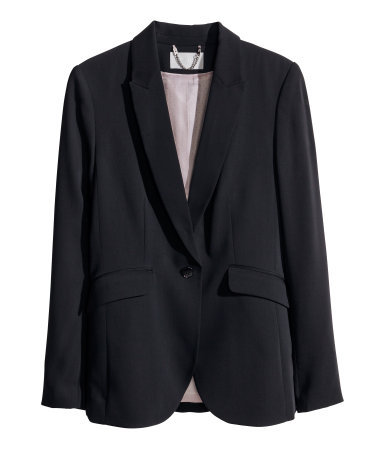 Figure Fit Jacket - pattern: plain; style: single breasted blazer; collar: standard lapel/rever collar; predominant colour: black; occasions: evening, work, occasion, creative work; length: standard; fit: tailored/fitted; fibres: polyester/polyamide - 100%; sleeve length: long sleeve; sleeve style: standard; collar break: low/open; pattern type: fabric; texture group: woven light midweight; season: s/s 2014