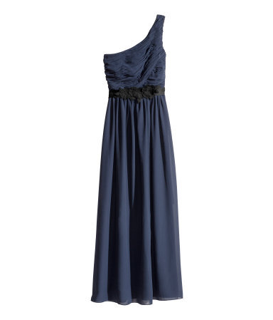 Long Dress - pattern: plain; sleeve style: sleeveless; style: maxi dress; neckline: asymmetric; waist detail: belted waist/tie at waist/drawstring; bust detail: ruching/gathering/draping/layers/pintuck pleats at bust; predominant colour: navy; occasions: evening, occasion; length: floor length; fit: fitted at waist & bust; fibres: polyester/polyamide - 100%; hip detail: soft pleats at hip/draping at hip/flared at hip; shoulder detail: asymmetric shoulder detail/one shoulder; sleeve length: sleeveless; texture group: sheer fabrics/chiffon/organza etc.; pattern type: fabric; embellishment: corsage; trends: show-off shoulders; season: s/s 2014