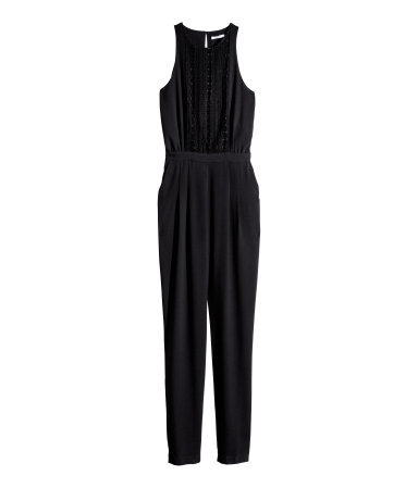 Sleeveless Jumpsuit - length: standard; neckline: round neck; fit: fitted at waist; pattern: plain; sleeve style: sleeveless; predominant colour: black; occasions: evening, occasion; fibres: polyester/polyamide - stretch; back detail: keyhole/peephole detail at back; sleeve length: sleeveless; texture group: crepes; style: jumpsuit; pattern type: fabric; embellishment: lace; season: s/s 2014; wardrobe: event