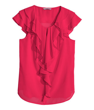Frilled Blouse - neckline: round neck; sleeve style: capped; pattern: plain; style: blouse; predominant colour: hot pink; occasions: evening, work, occasion, creative work; length: standard; fibres: polyester/polyamide - 100%; fit: straight cut; sleeve length: short sleeve; texture group: sheer fabrics/chiffon/organza etc.; bust detail: bulky details at bust; pattern type: fabric; season: s/s 2014; wardrobe: highlight