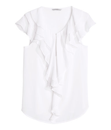Frilled Blouse - neckline: round neck; sleeve style: capped; pattern: plain; style: blouse; predominant colour: white; occasions: evening, work, creative work; length: standard; fibres: polyester/polyamide - 100%; fit: straight cut; sleeve length: sleeveless; texture group: sheer fabrics/chiffon/organza etc.; bust detail: bulky details at bust; pattern type: fabric; season: s/s 2014; wardrobe: highlight