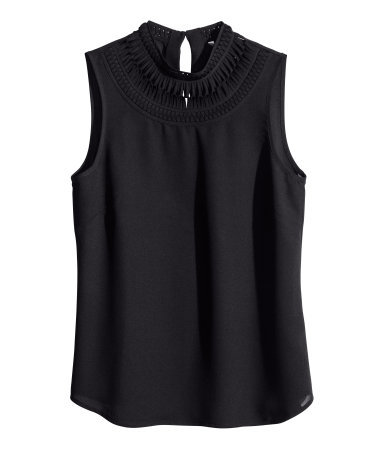 Sleeveless Blouse - pattern: plain; sleeve style: sleeveless; neckline: high neck; predominant colour: black; occasions: evening, work, creative work; length: standard; style: top; fibres: polyester/polyamide - 100%; fit: straight cut; back detail: keyhole/peephole detail at back; sleeve length: sleeveless; texture group: crepes; pattern type: fabric; season: s/s 2014