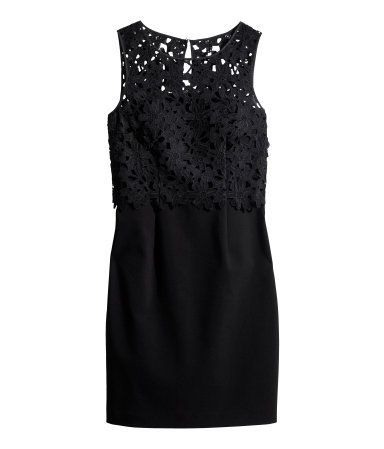 Lace Dress - style: shift; length: mid thigh; neckline: round neck; fit: tailored/fitted; pattern: plain; sleeve style: sleeveless; predominant colour: black; occasions: evening, occasion; fibres: polyester/polyamide - stretch; bust detail: contrast pattern/fabric/detail at bust; back detail: keyhole/peephole detail at back; sleeve length: sleeveless; pattern type: fabric; texture group: woven light midweight; embellishment: lace; trends: lace; season: s/s 2014